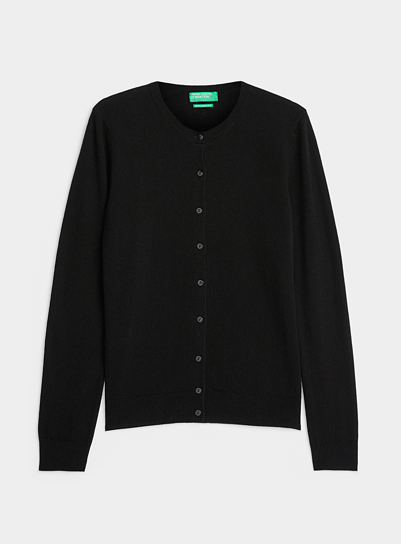 United Colors of Benetton: Le cardigan boutonné laine mérinos Noir pour femme