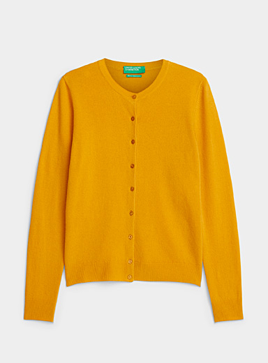 United Colors of Benetton Dark Yellow Merino wool buttoned cardigan for women