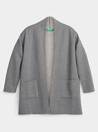 United Colors of Benetton Grey Reversible loose cardigan for women