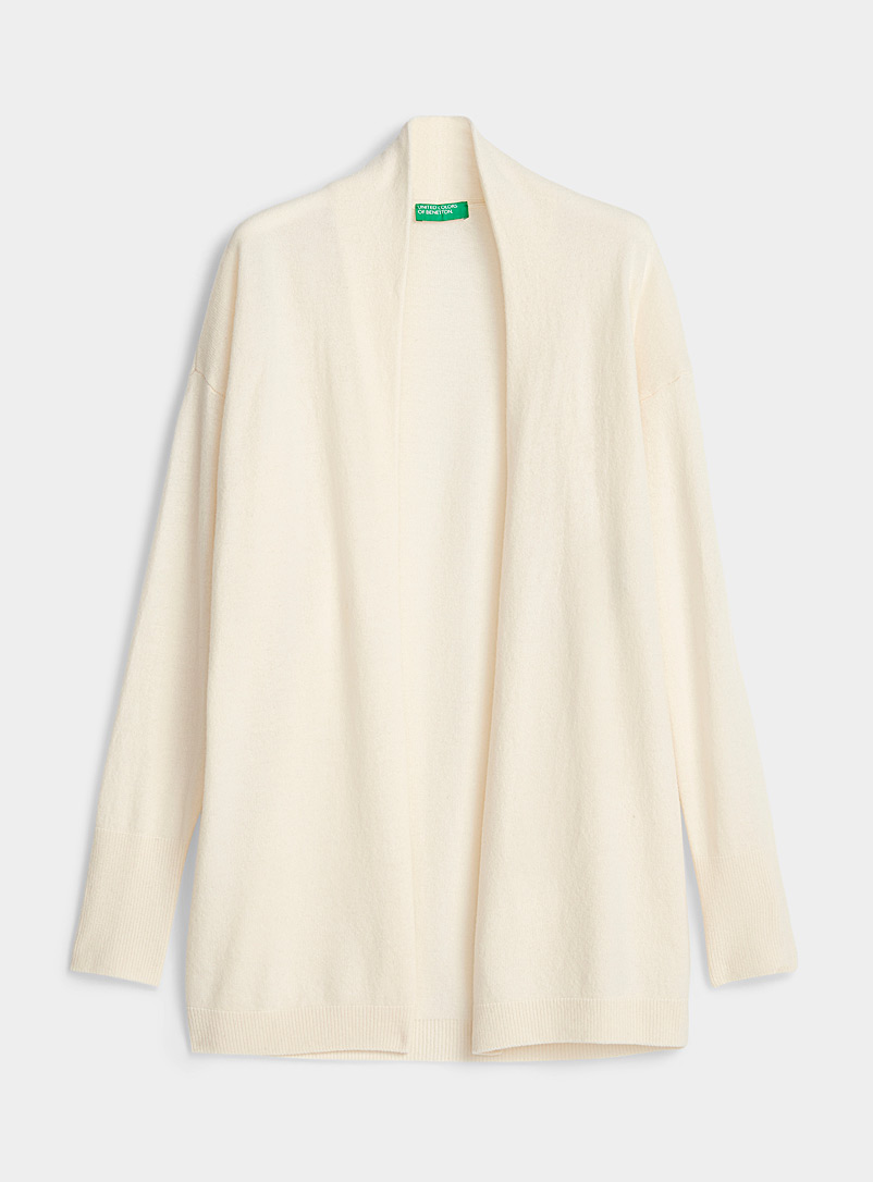 United Colors of Benetton Ivory White Long shawl-collar wool cardigan for women