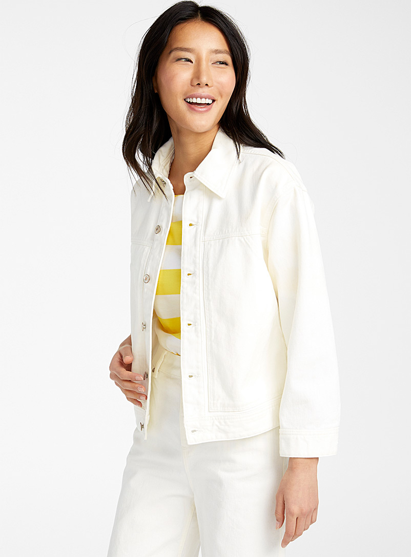 United Colors of Benetton White Ivory denim jacket for women