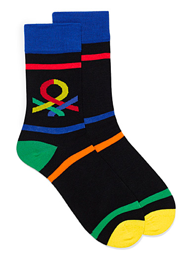 United Colors of Benetton Black Multi-print socks for men
