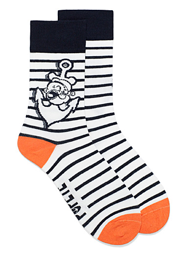 United Colors of Benetton White Popeye striped socks for men