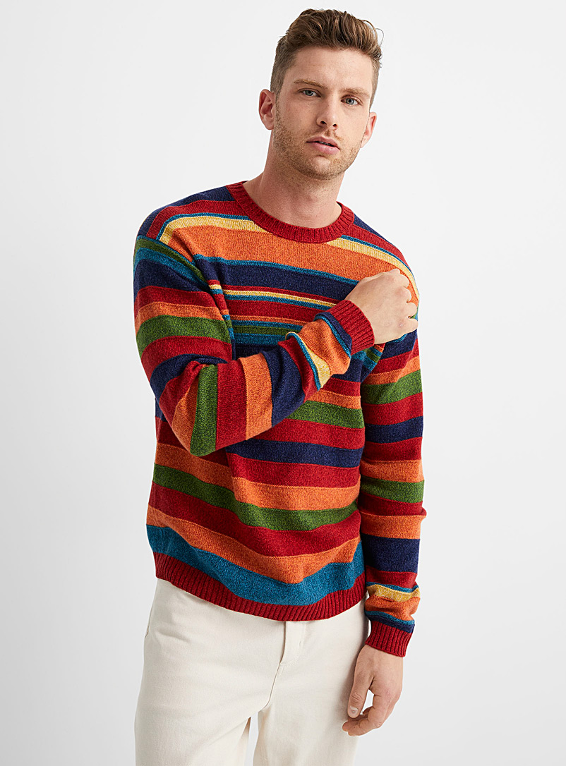 United Colors of Benetton: Le pull multirayures relief Cuivre rouille pour homme