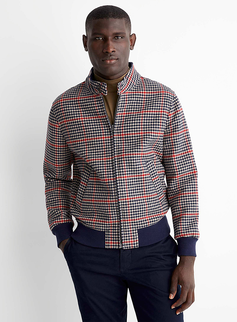 United Colors of Benetton Marine Blue Two-tone houndstooth felt jacket for men