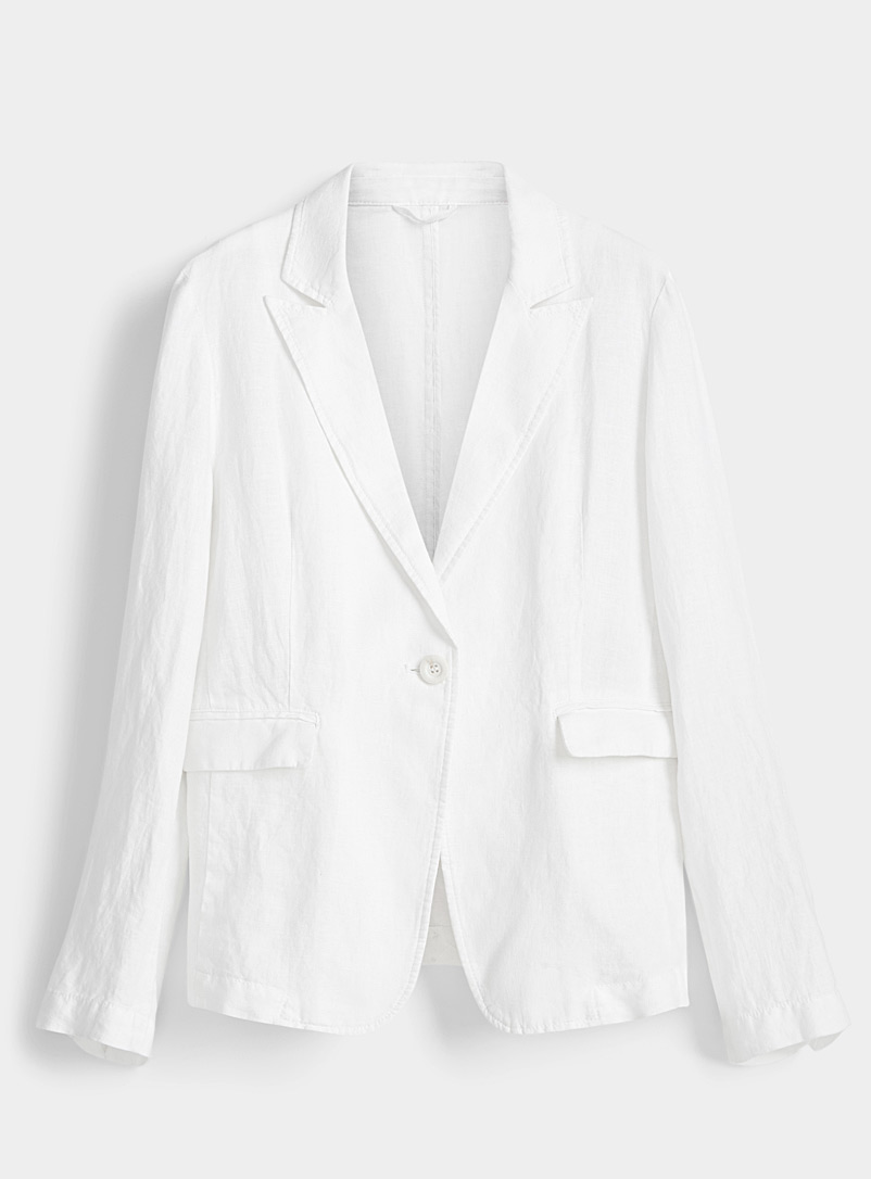 United Colors of Benetton White Ivory linen blazer for women