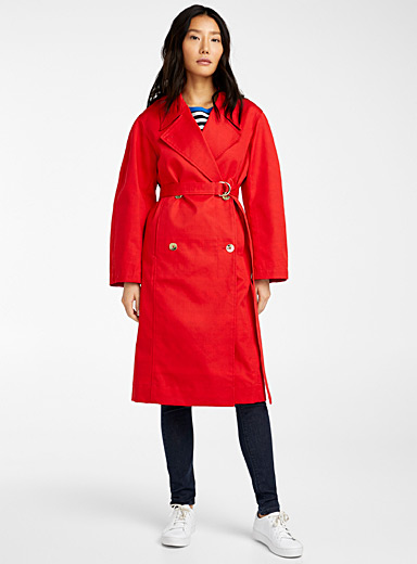 Cherry red belted trench coat