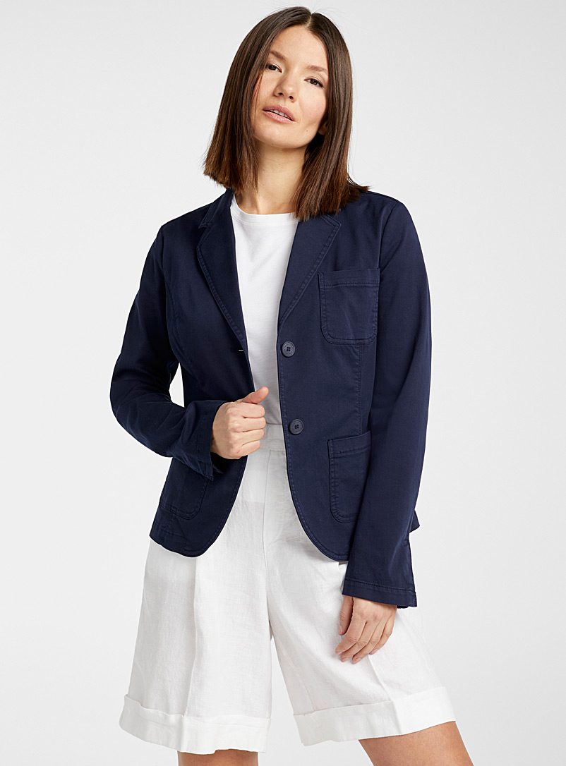 United Colors of Benetton Marine Blue Notch collar chino jacket for women