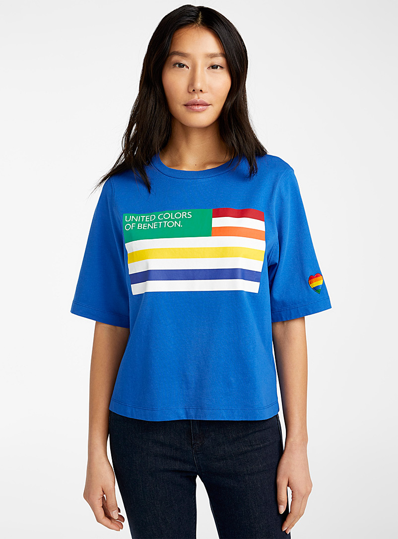 United Colors of Benetton Patterned Blue Logo flag tee for women