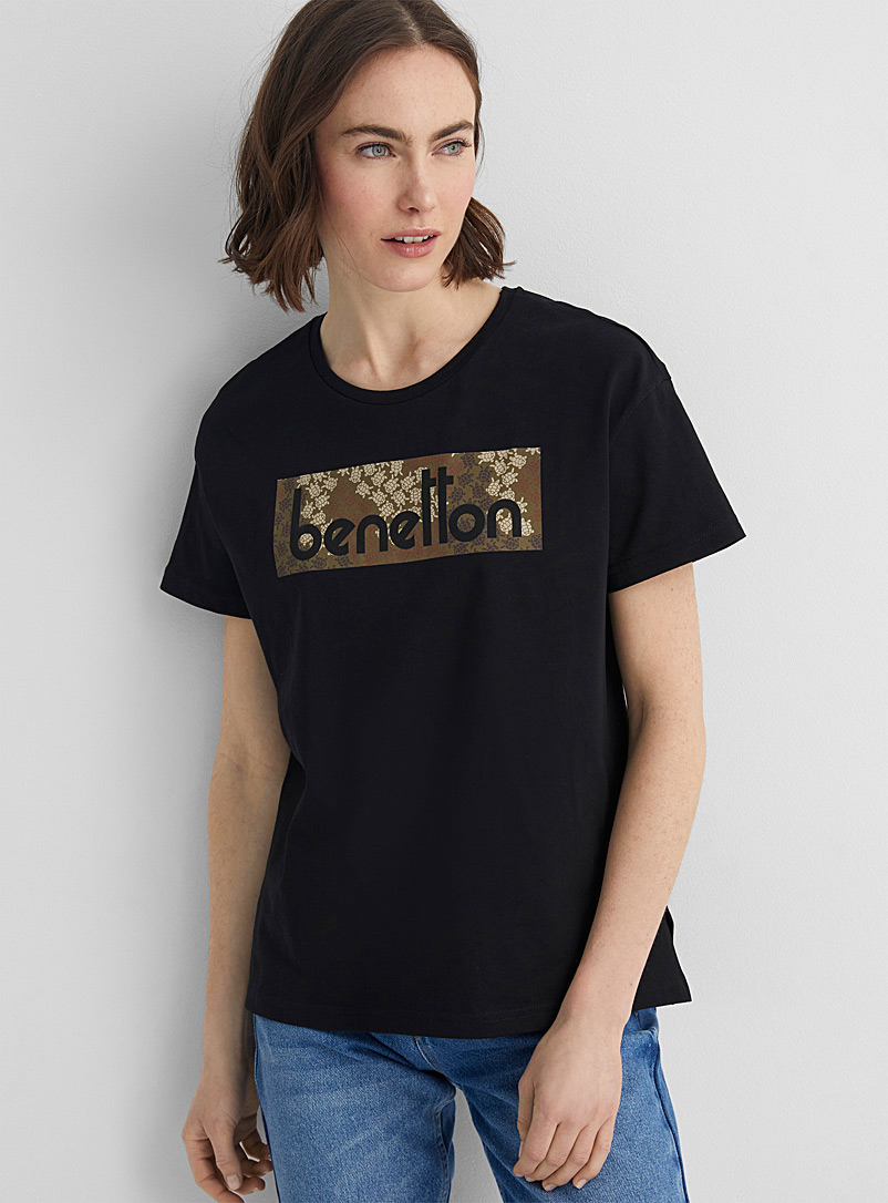 United Colors of Benetton Black Signature pattern cotton tee for women