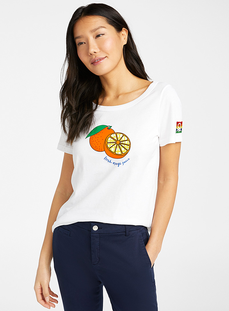 United Colors of Benetton White Juicy orange tee for women