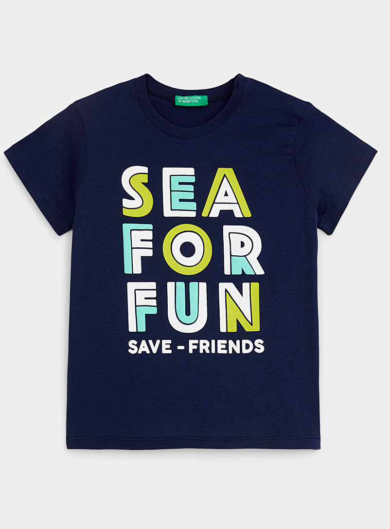 United Colors of Benetton Marine Blue Colourful expedition tee Kids for women
