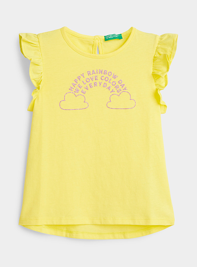 United Colors of Benetton Light Yellow Colourful day tee Kids for women
