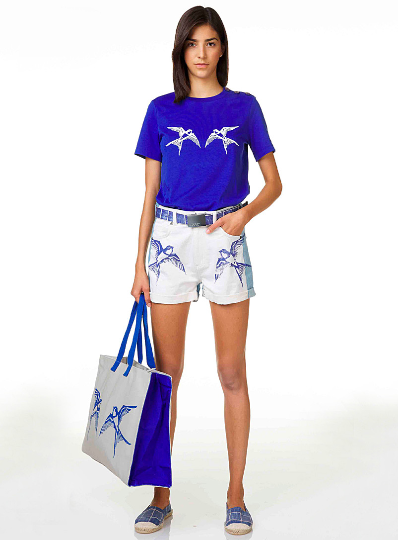United Colors of Benetton Blue Button bird tee for women