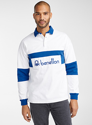 United Colors of Benetton Ivory White Logo colour block rugby polo for men
