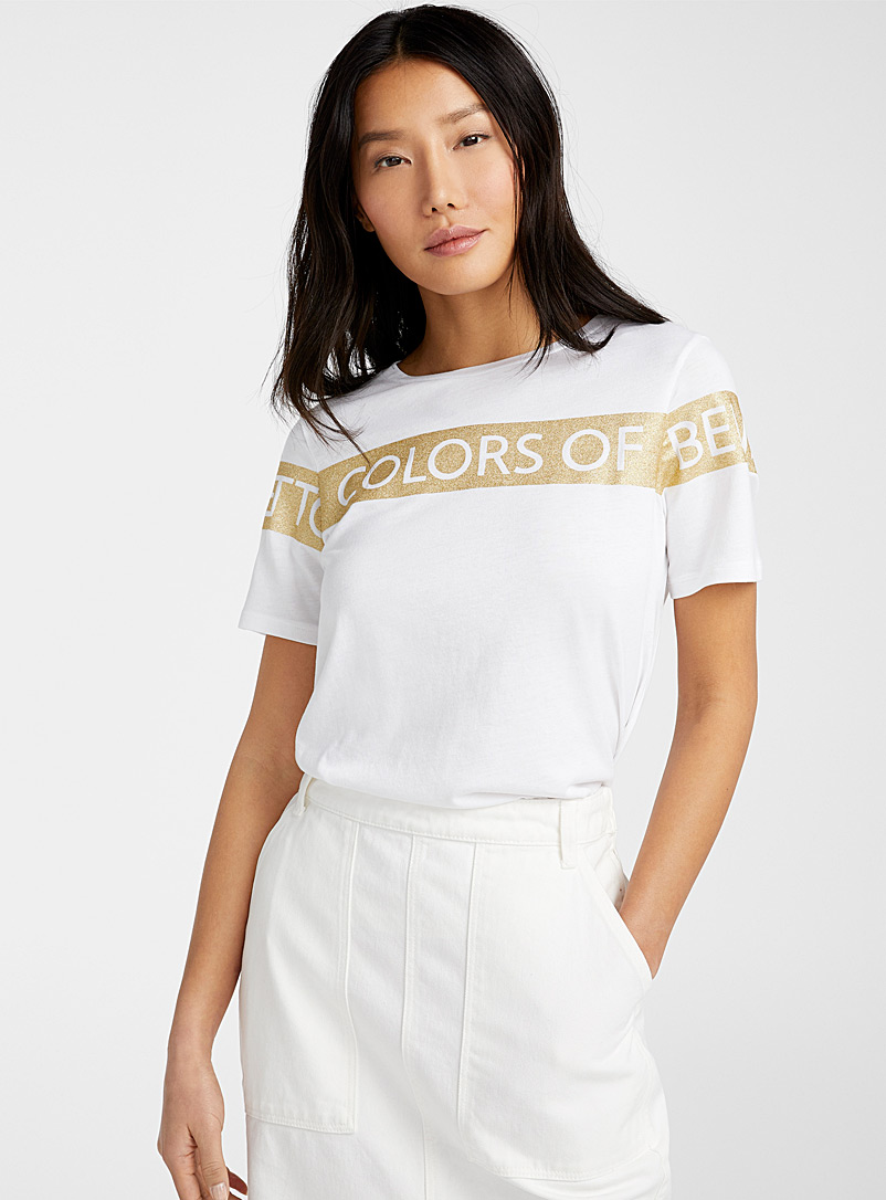 United Colors of Benetton Patterned White Shimmery logo T-shirt for women