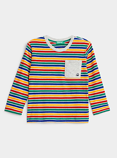 United Colors of Benetton Patterned Yellow Multicolour stripe T-shirt  Kids for women
