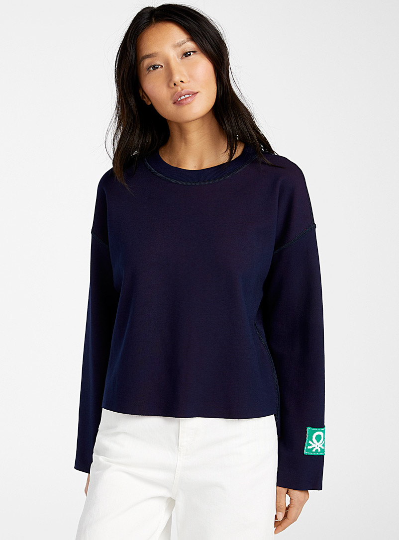 United Colors of Benetton: Le sweat ample réversible Bleu à motifs pour femme