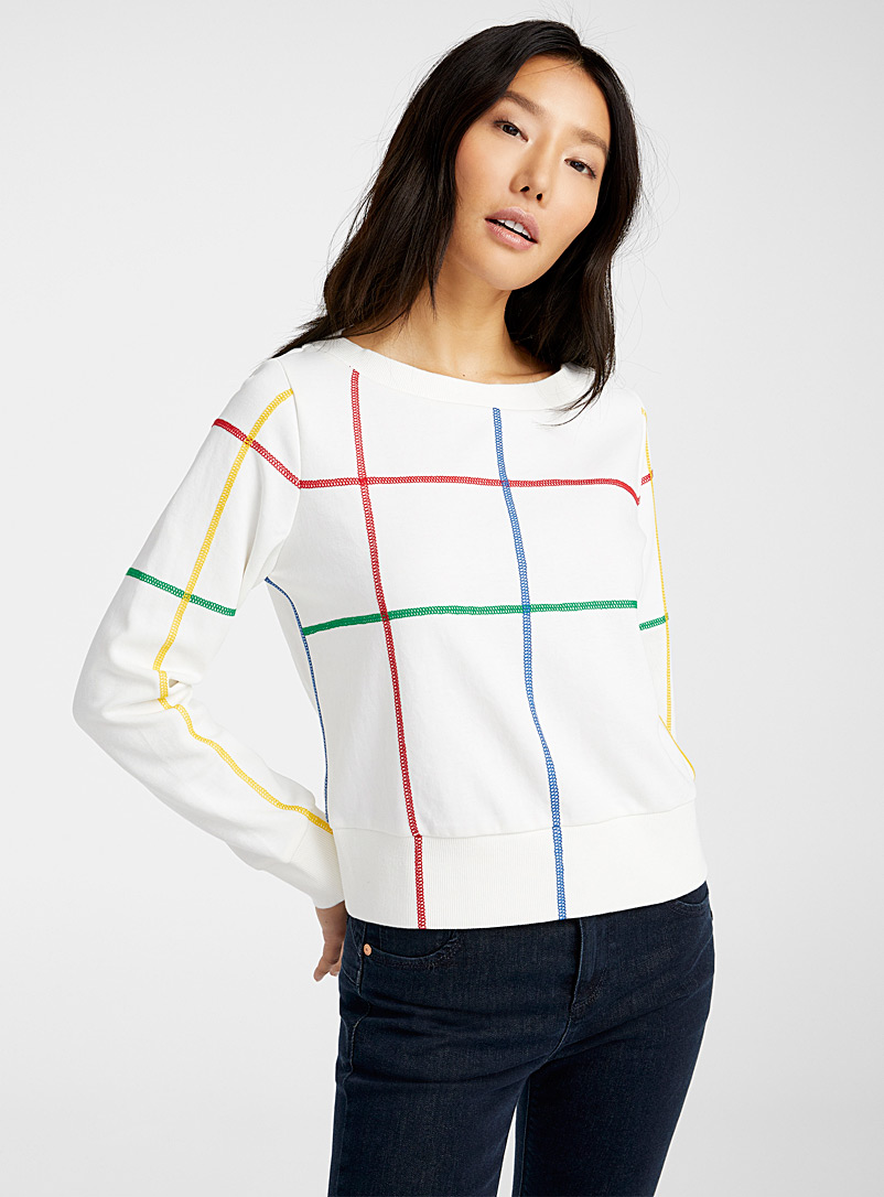 United Colors of Benetton: Le sweat surpiqûres colorées Blanc à motifs pour femme