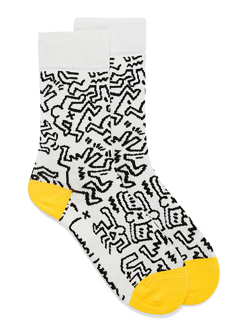 Keith Haring graphic socks