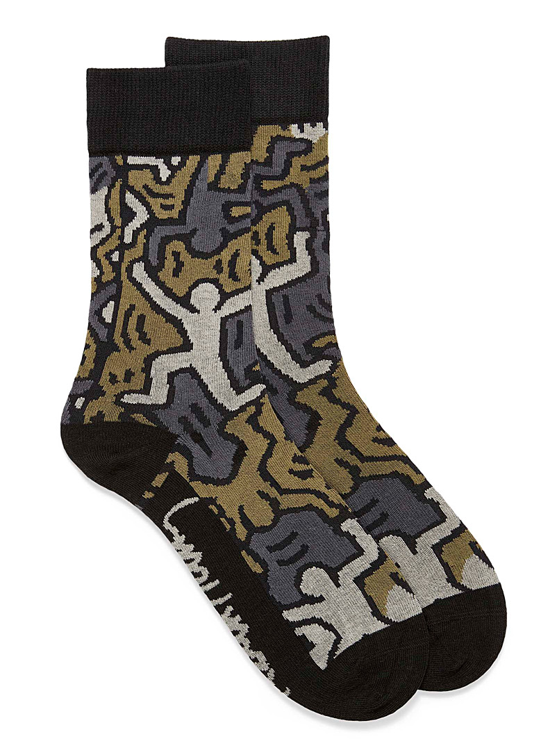 United Colors of Benetton Black and White Keith Haring graphic socks for men