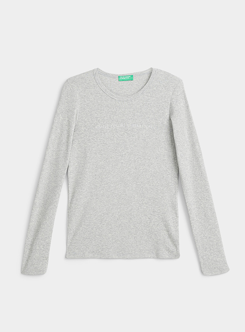United Colors of Benetton Grey Shiny logo tee for women