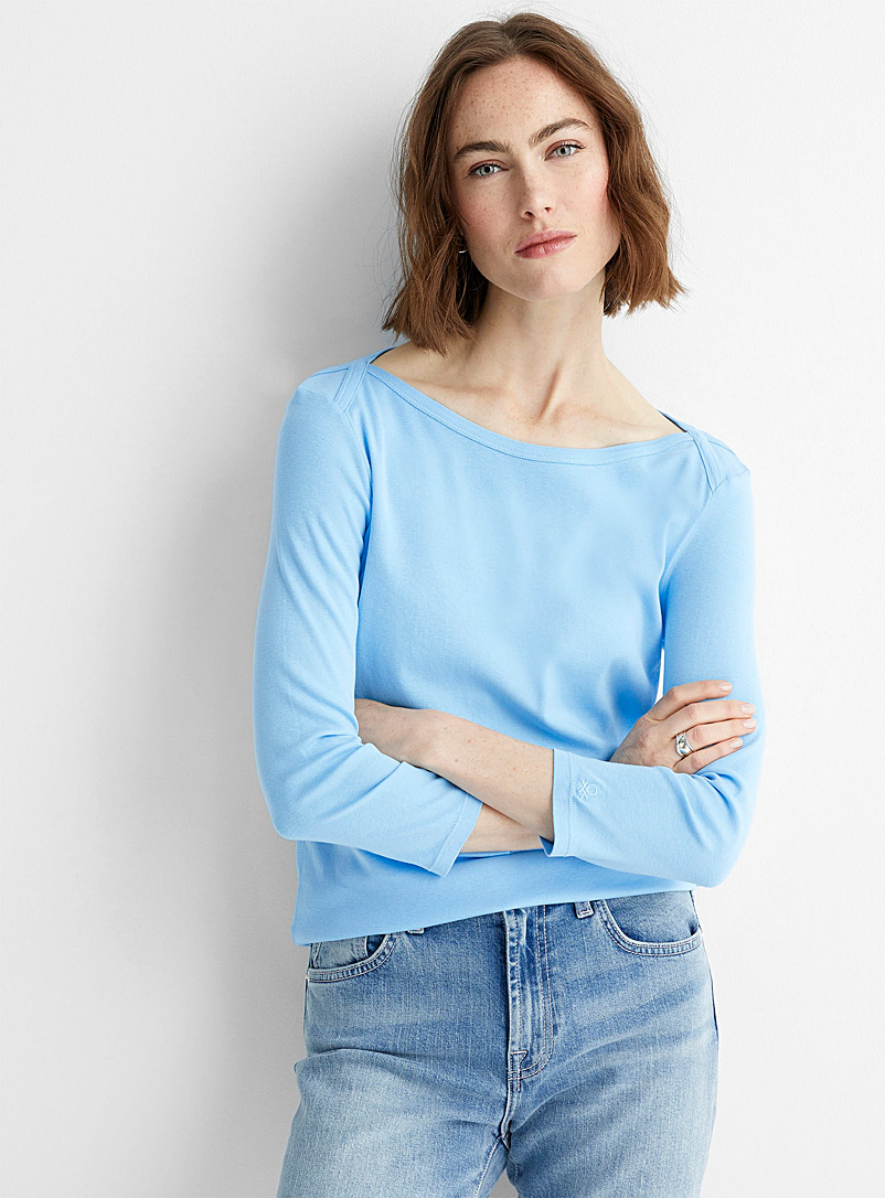 United Colors of Benetton Red Boatneck cotton tee for women