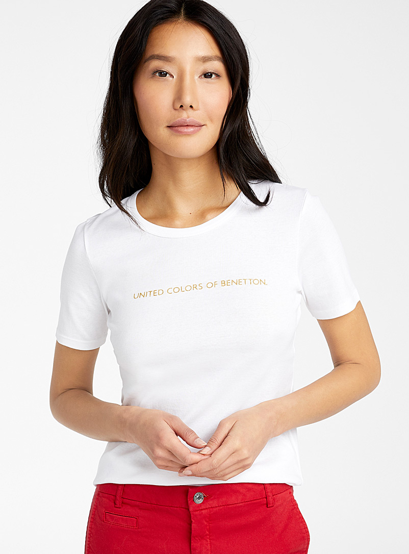 United Colors of Benetton White Shiny logo tee for women