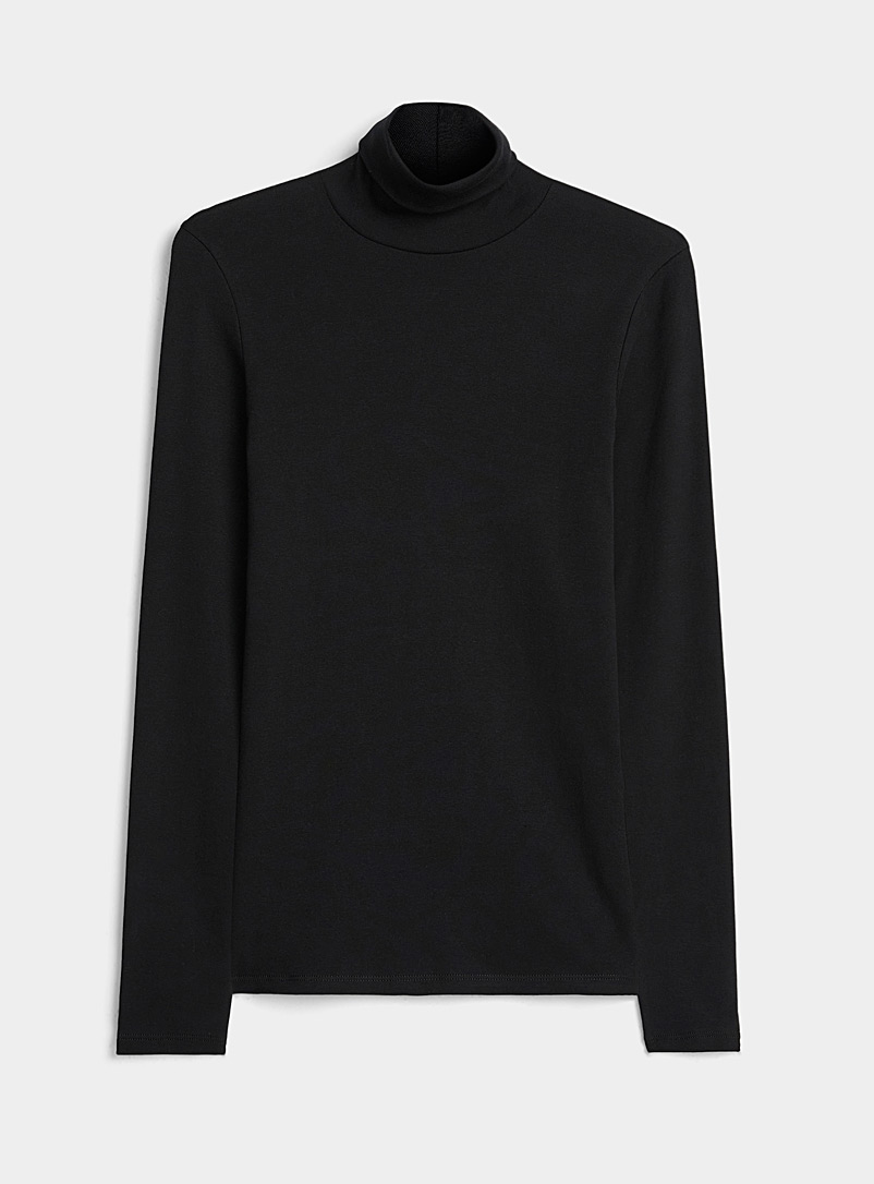 Cotton jersey fitted turtleneck