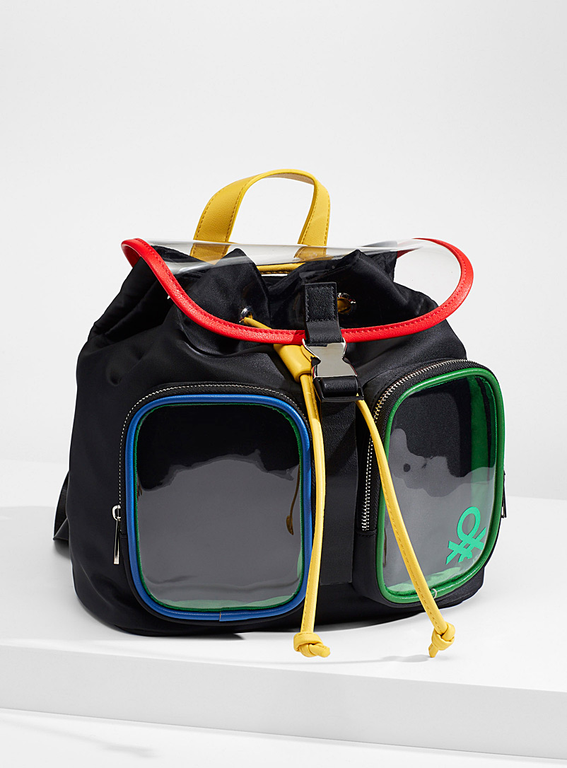 United Colors of Benetton Assorted Colourful transparent backpack for women