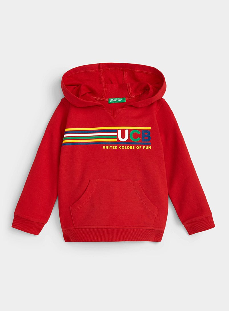 United Colors of Benetton Red Colourful logo hoodie Kids for women