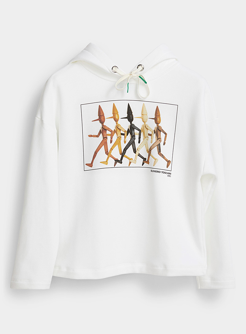 United Colors of Benetton White Pinocchio photo hoodie for women