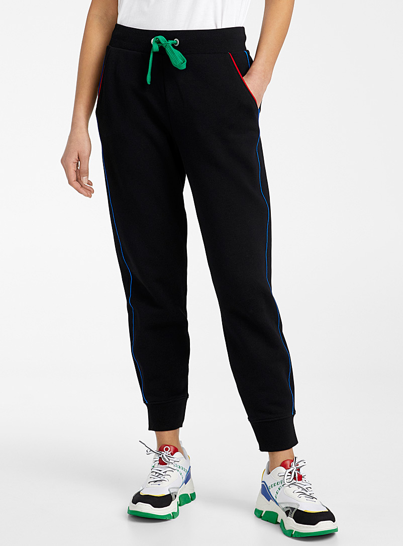 United Colors of Benetton Black Coloured-trim joggers for women