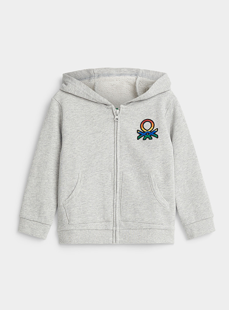 United Colors of Benetton Grey Hooded logo sweatshirt cardigan  Kids for women