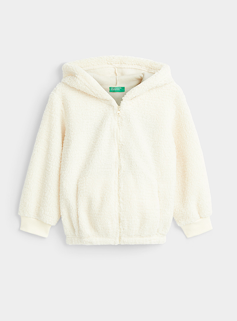 United Colors of Benetton Cream Beige Fleece teddy bear zip hoodie for women