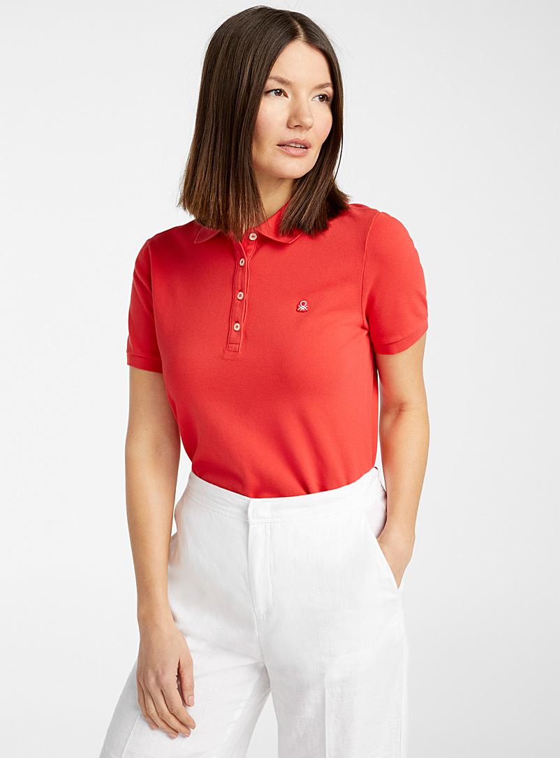 United Colors of Benetton White Solid piqué cotton polo for women