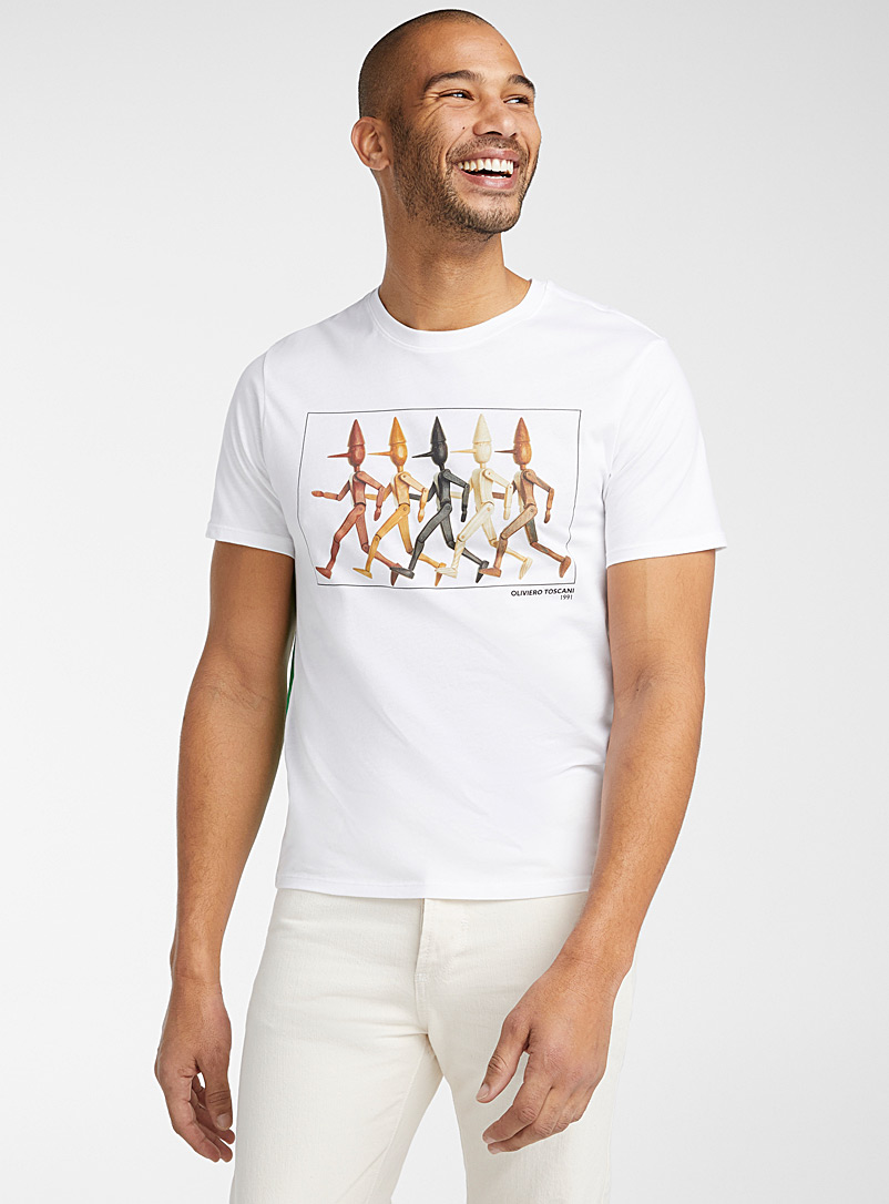 United Colors of Benetton: Le t-shirt photo haute en couleur Blanc pour homme