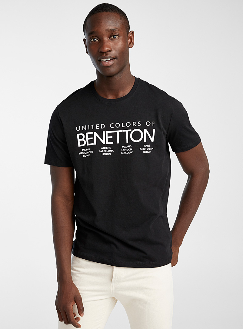 United Colors of Benetton Black Accent logo T-shirt for men