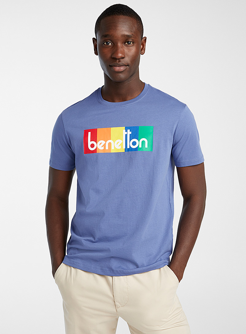 United Colors of Benetton Blue Accent logo T-shirt for men