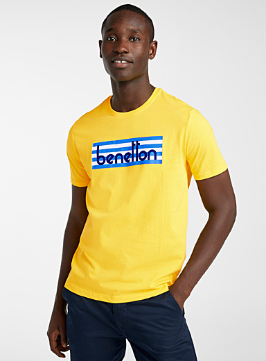 United Colors of Benetton Golden Yellow Accent logo T-shirt for men
