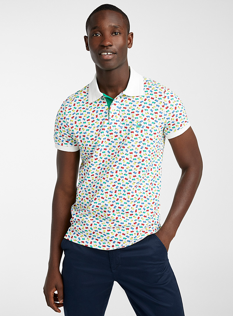 United Colors of Benetton White Signature emblem polo for men