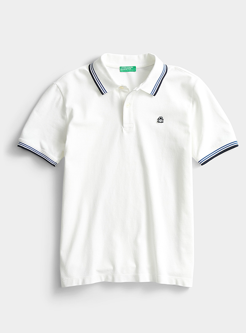 United Colors of Benetton White Signature polo for men