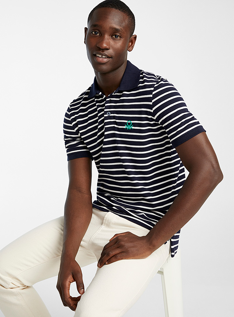 United Colors of Benetton Marine Blue Nautical combo piqué polo for men