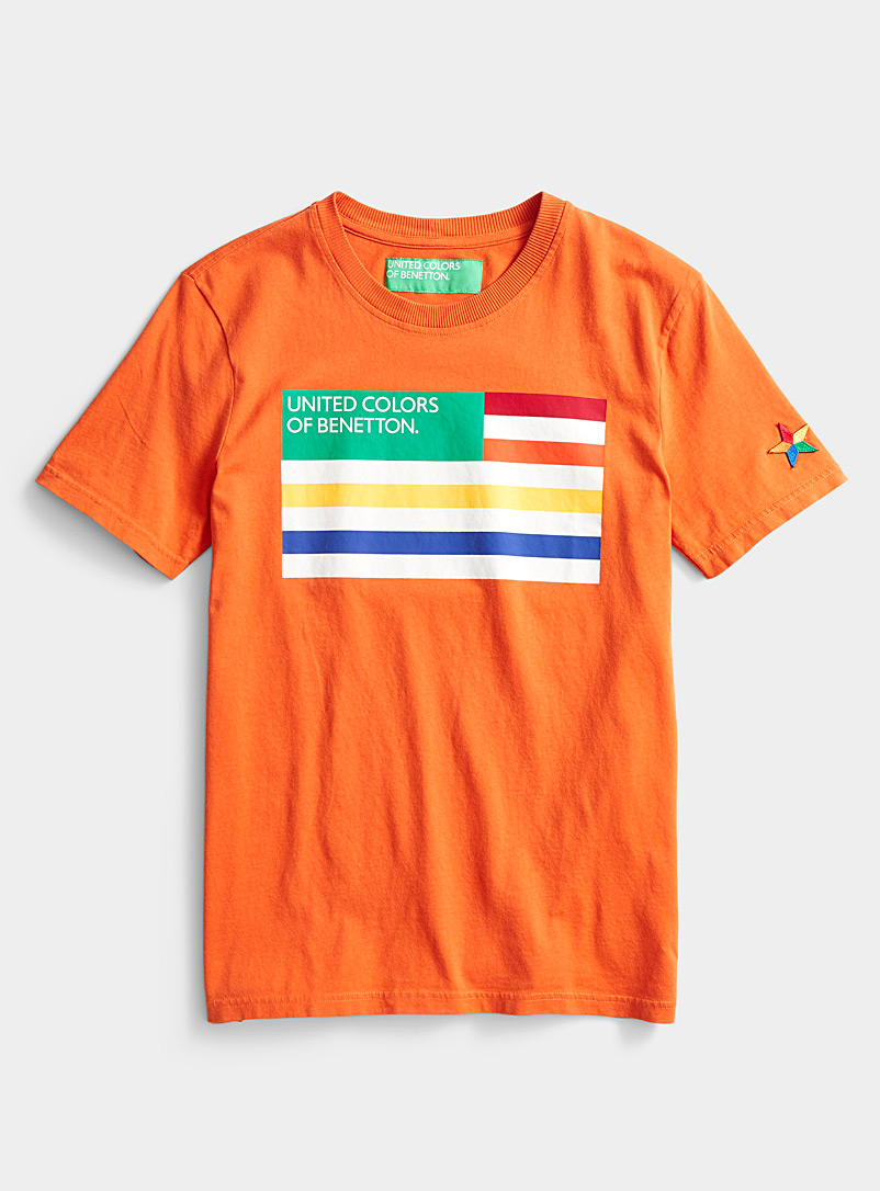 United Colors of Benetton Orange Logo flag T-shirt for men