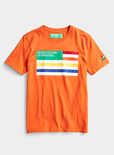 United Colors of Benetton: Le t-shirt drapeau logo Orange pour homme