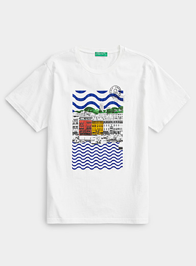 United Colors of Benetton White Postcard T-shirt for men