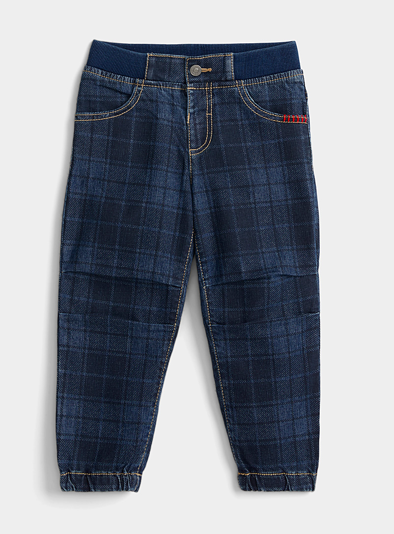 United Colors of Benetton Patterned Blue Plaid ribbed-waist jean  Kids for women