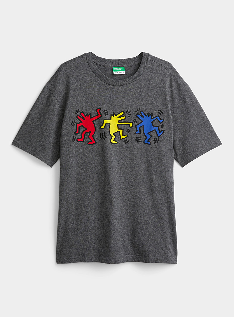 United Colors of Benetton Grey Keith Haring artwork T-shirt for men