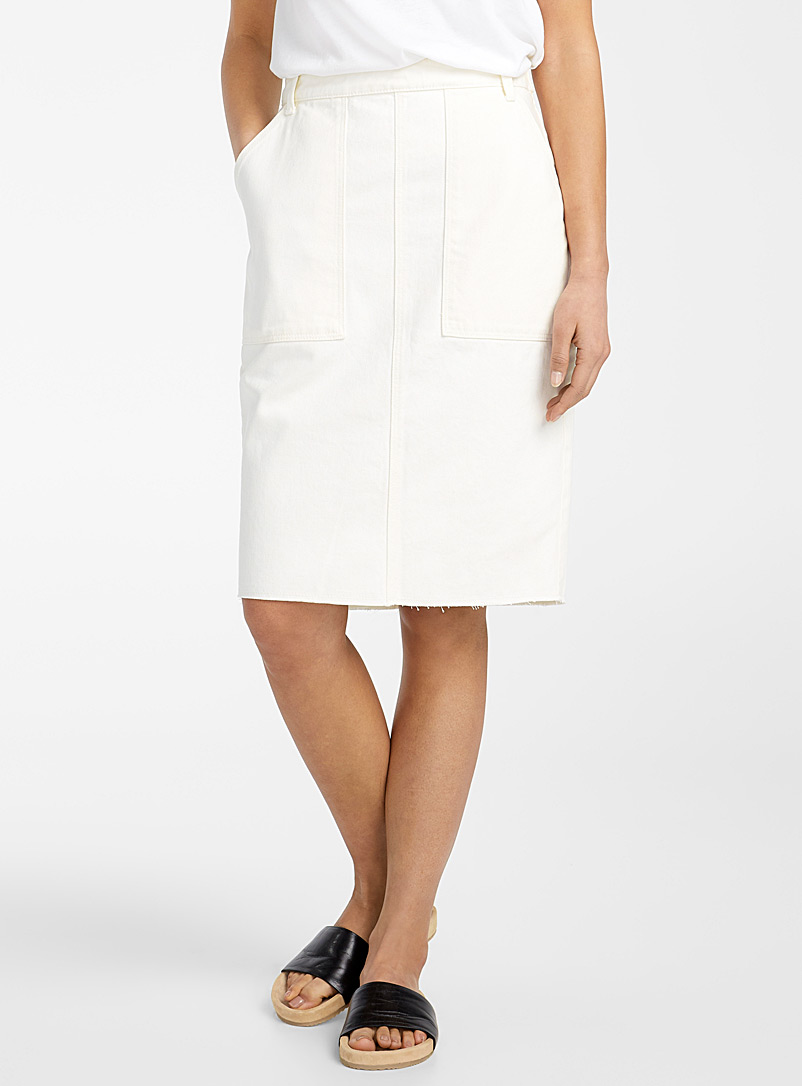 United Colors of Benetton White Ivory denim skirt for women