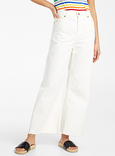 United Colors of Benetton White Ivory cropped wide-leg jean for women